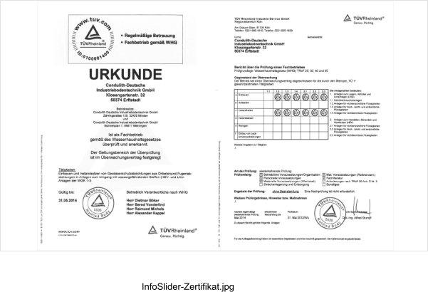 Condulith Zertifikat