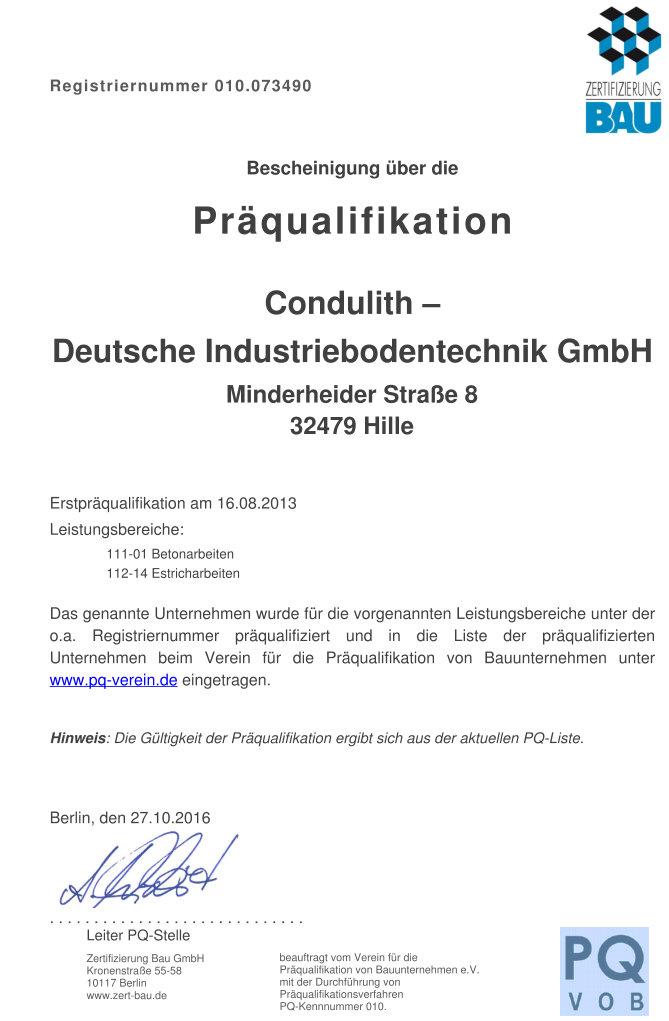 Urkunde Präfikation Condulith-Industriebodentechnik