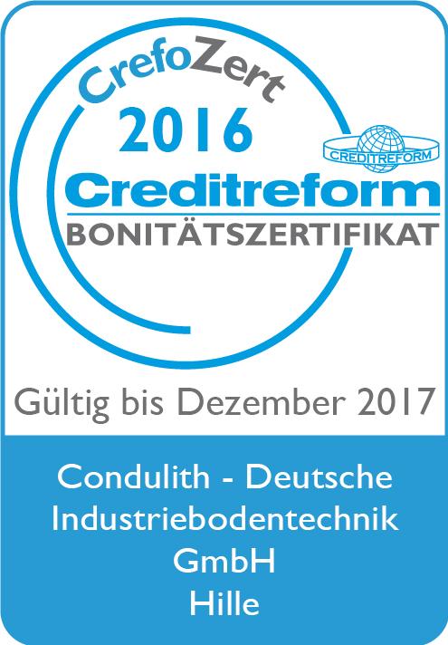 CrefoZert 2017 für Condulith®